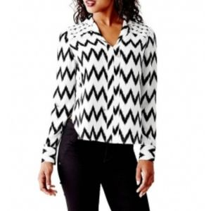 Guess black chevron flowy blouse high low pin tuck